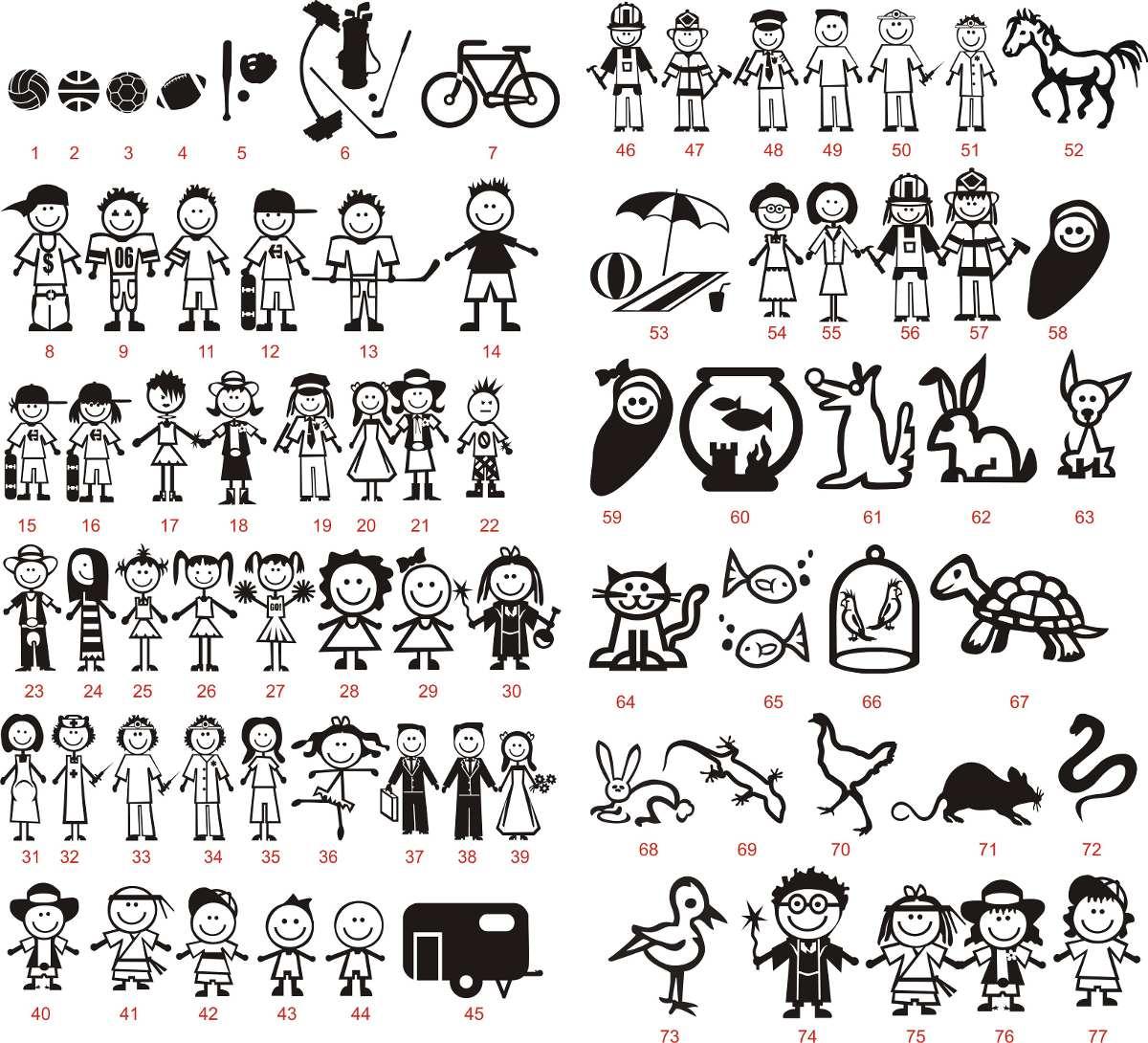 Adesivo Família Feliz Escolher 4 Desenhos Frete R$ 1,00 C R