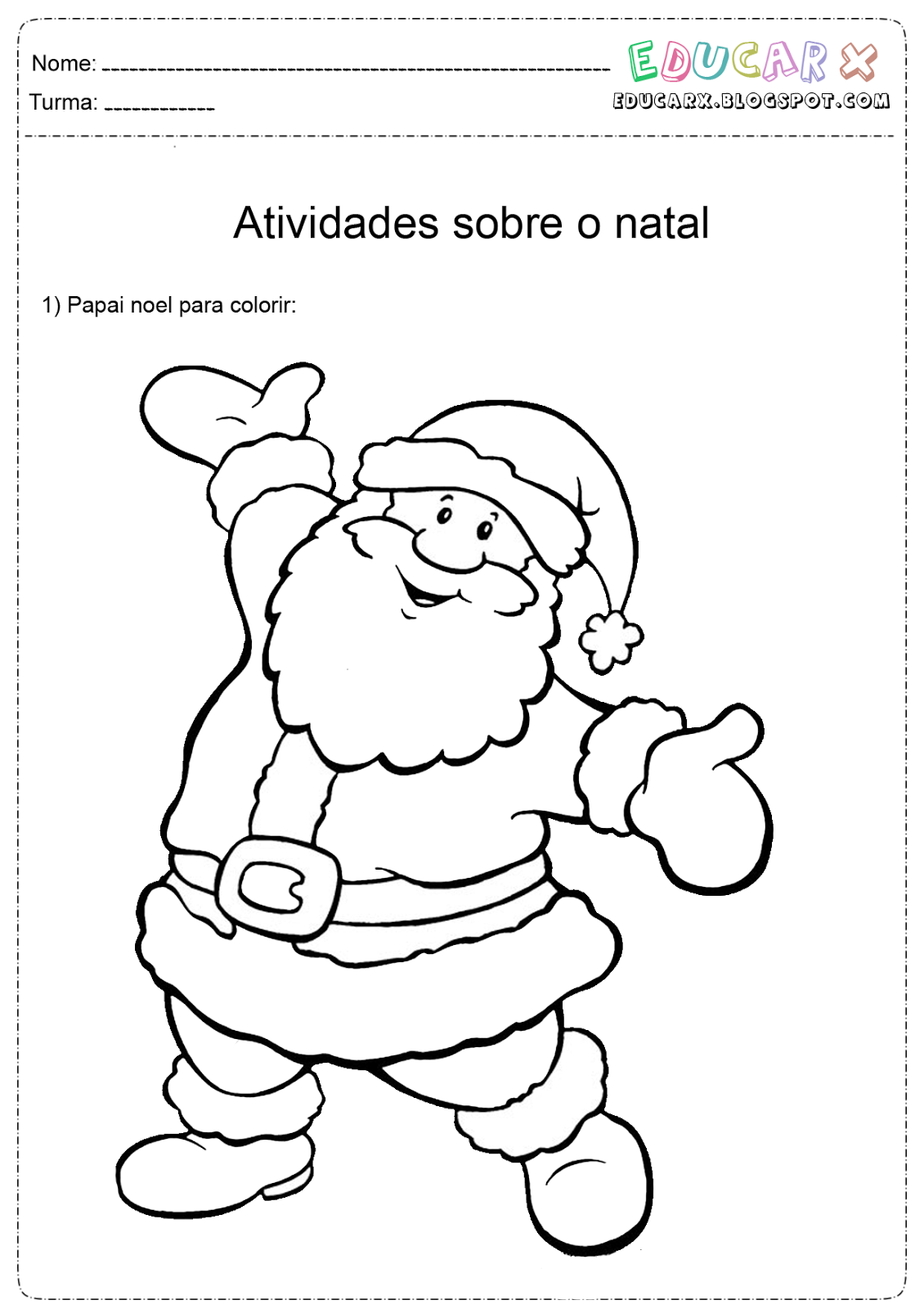 Imagem do papai noel para colorir for Mural de natal 4 ano