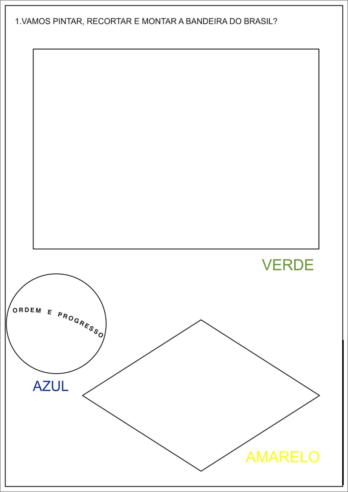 Atividades Com A Bandeira Do Brasil Para Imprimir E Colorir Para