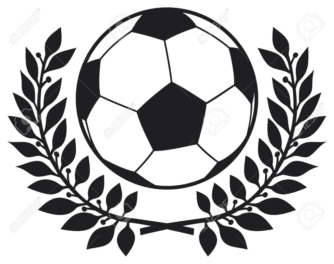 Bola De Futebol E Coroa De Louros Futebol Clube Símbolo, Símbolo