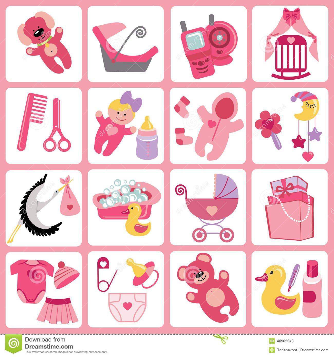 Ícones Bonitos Dos Desenhos Animados Para O Bebê Jogo Recém