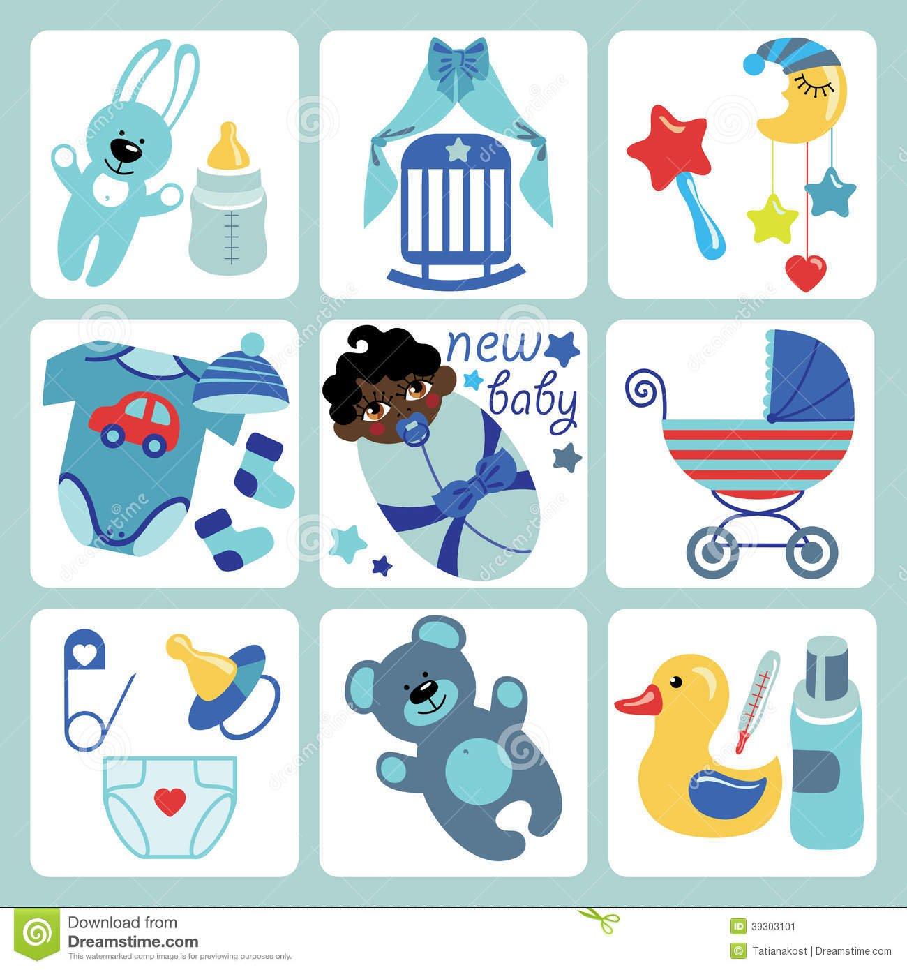 Ícones Bonitos Dos Desenhos Animados Para O Bebê Recém