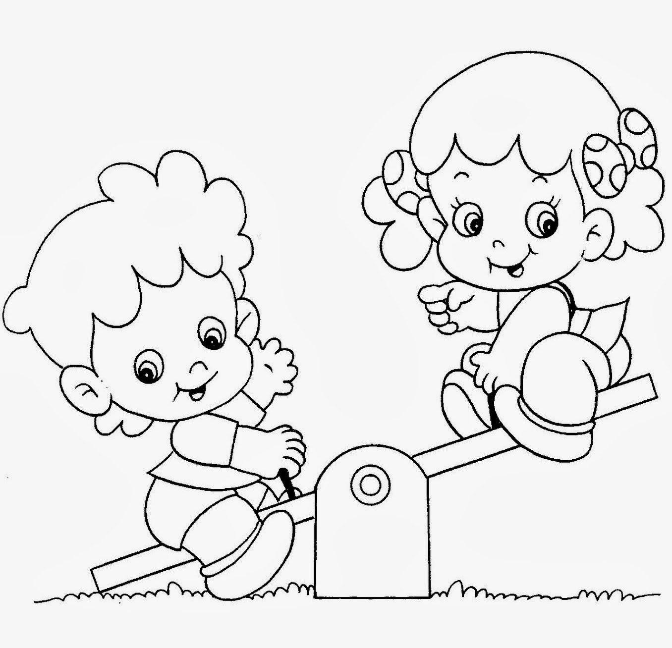 Crianças Brincando Para Colorir