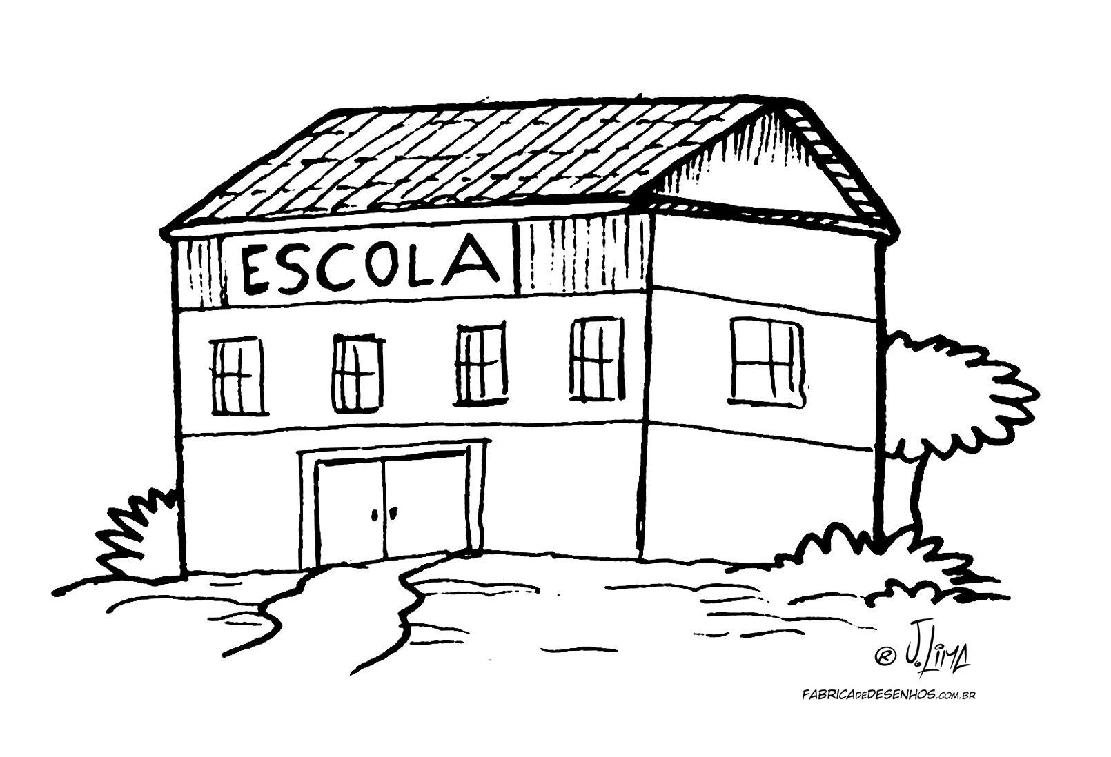 Desenho Colorir Escola – A Fábrica De Desenhos