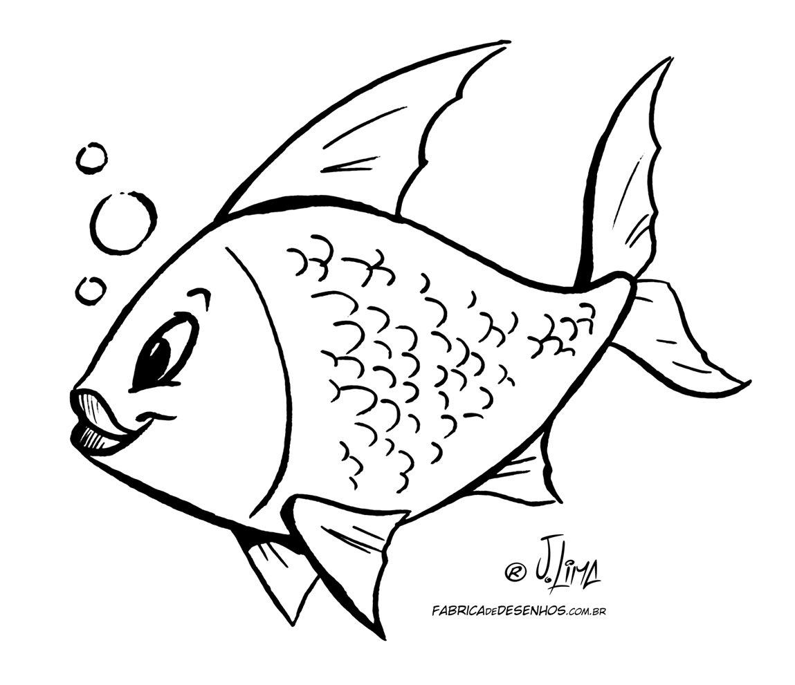 Desenho Colorir Peixe Peixinho – A Fábrica De Desenhos