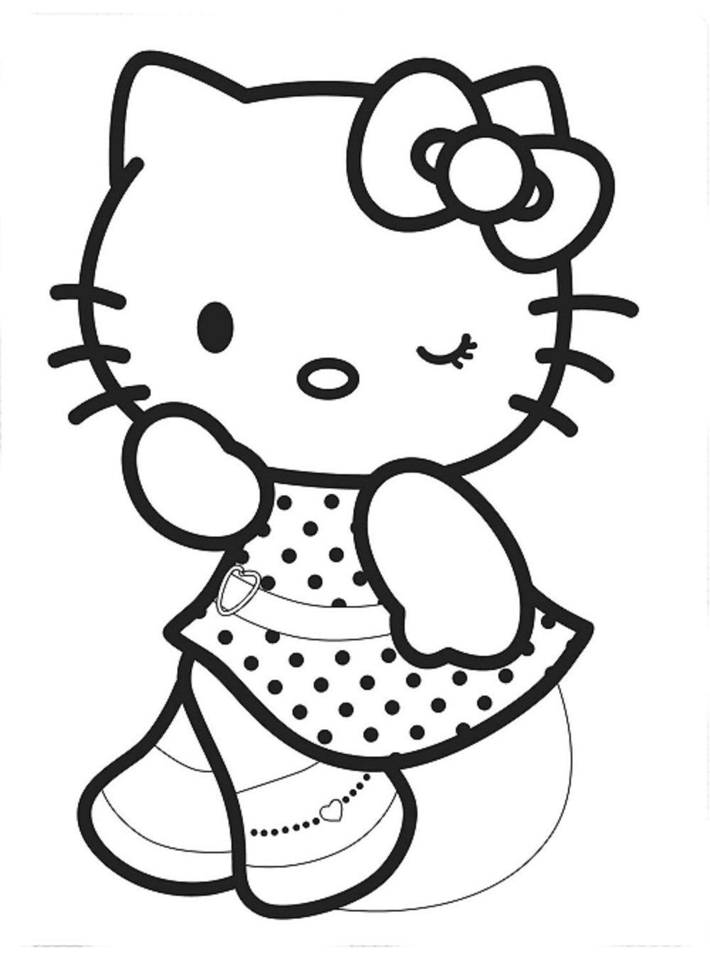 Desenho De Hello Kitty Bonita Para Colorir