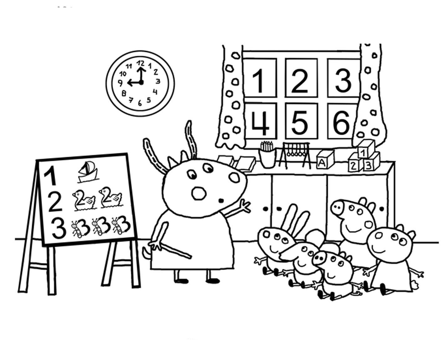 Desenho De Sala De Aula Da Peppa Pig Para Colorir