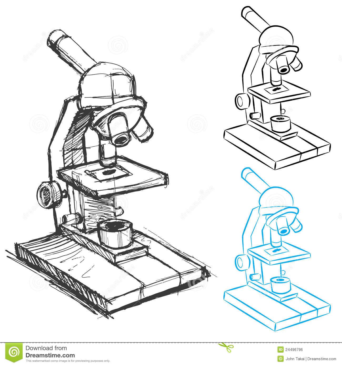 Desenho Do Microscópio Imagens De Stock