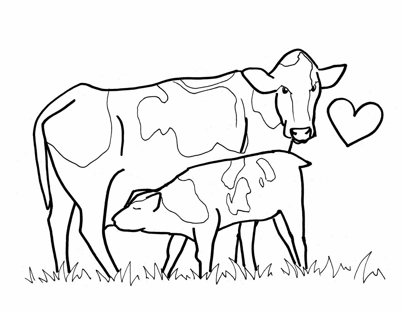 Desenhos De Colorir  Mamãe Vaca E Bezerro Para Imprimir, Pintar E