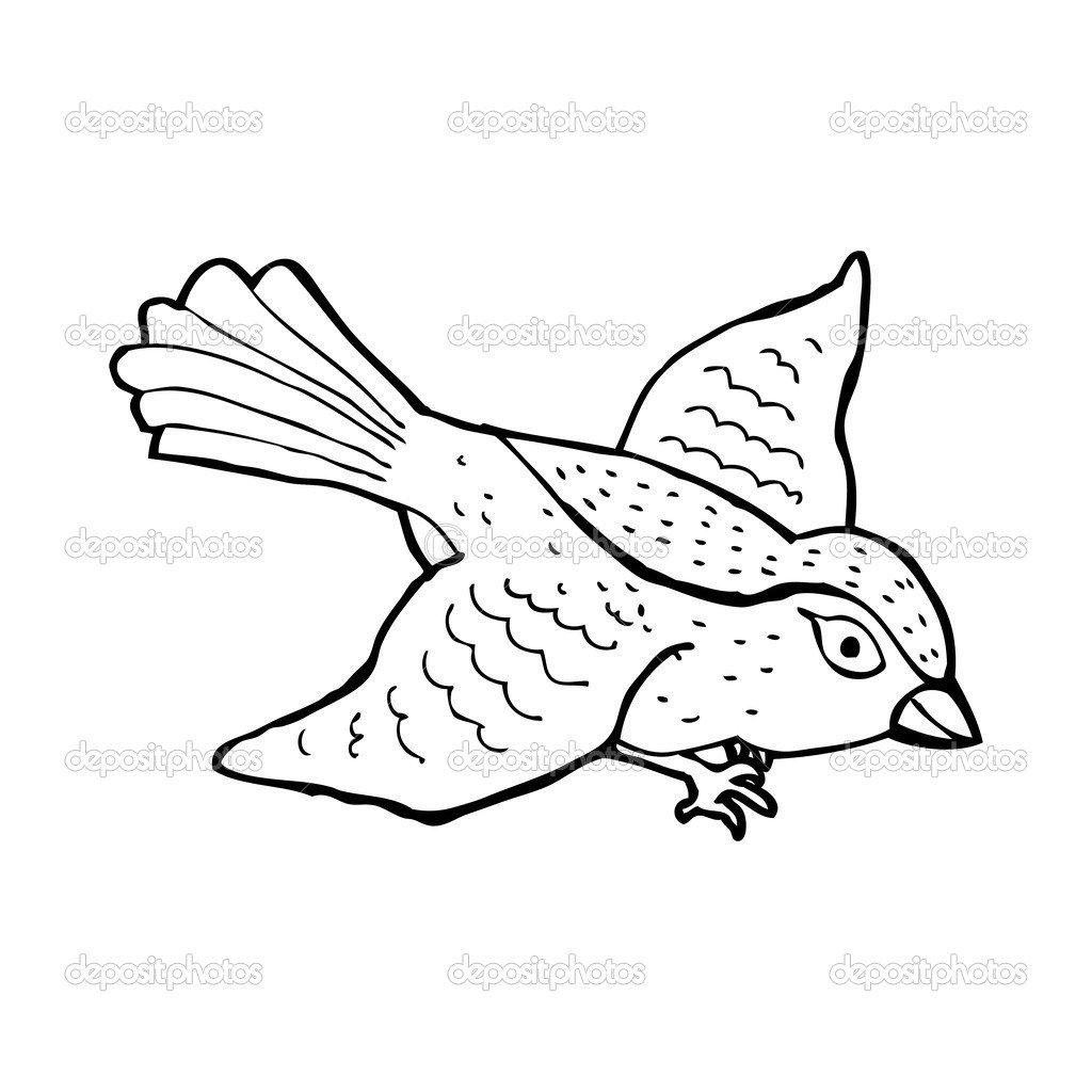Dos Desenhos Animados Do Pássaro Voando — Vetor De Stock