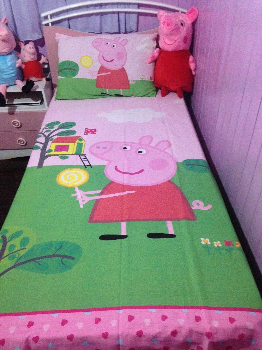Jogo De Cama 2 Peças Solteiro Infantil Peppa Pig Pepa Porca
