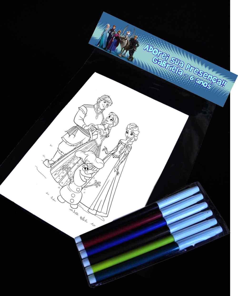 Kit Com Desenho Para Colorir Frozen