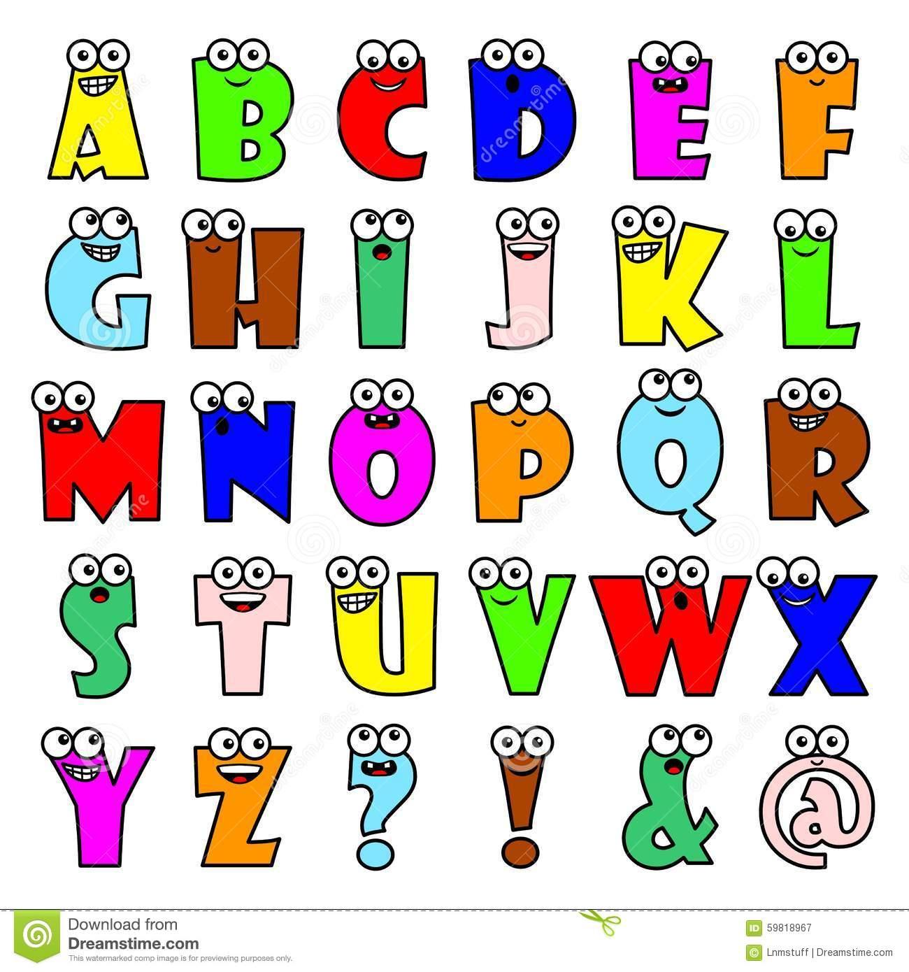 Letras Do Alfabeto Dos Desenhos Animados Ilustração Do Vetor