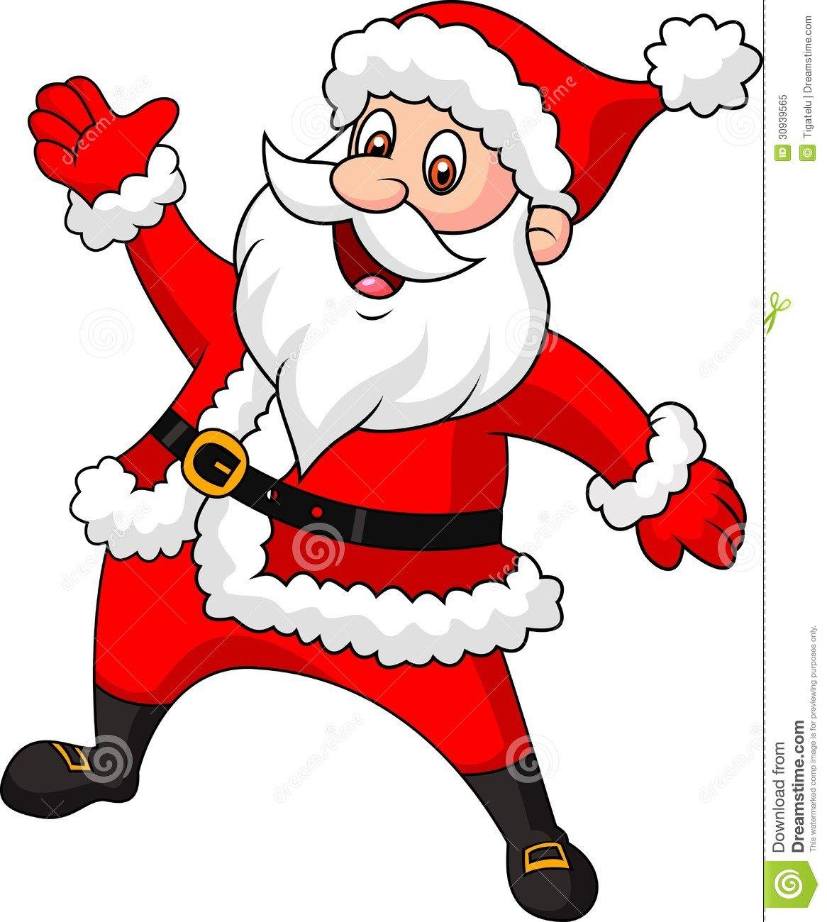 Mão De Ondulação Dos Desenhos Animados De Papai Noel Foto De Stock