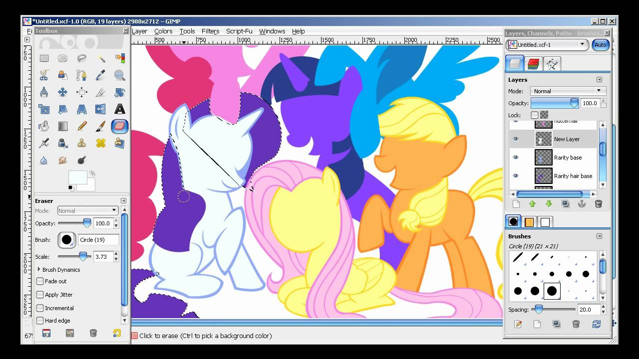 My Little Pony Speed Drawing With Gimp Paths Tool
