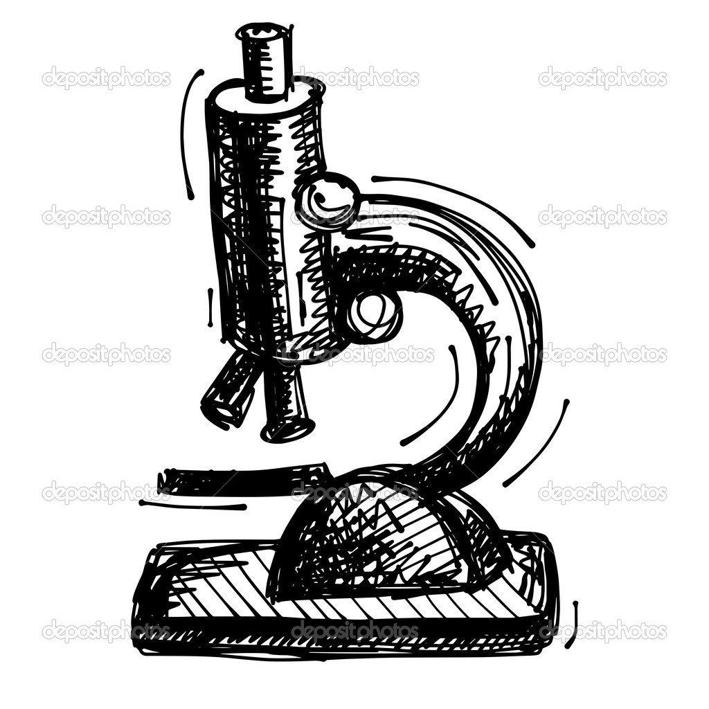 Preto Esboço De Desenho Do Microscópio — Vetor De Stock