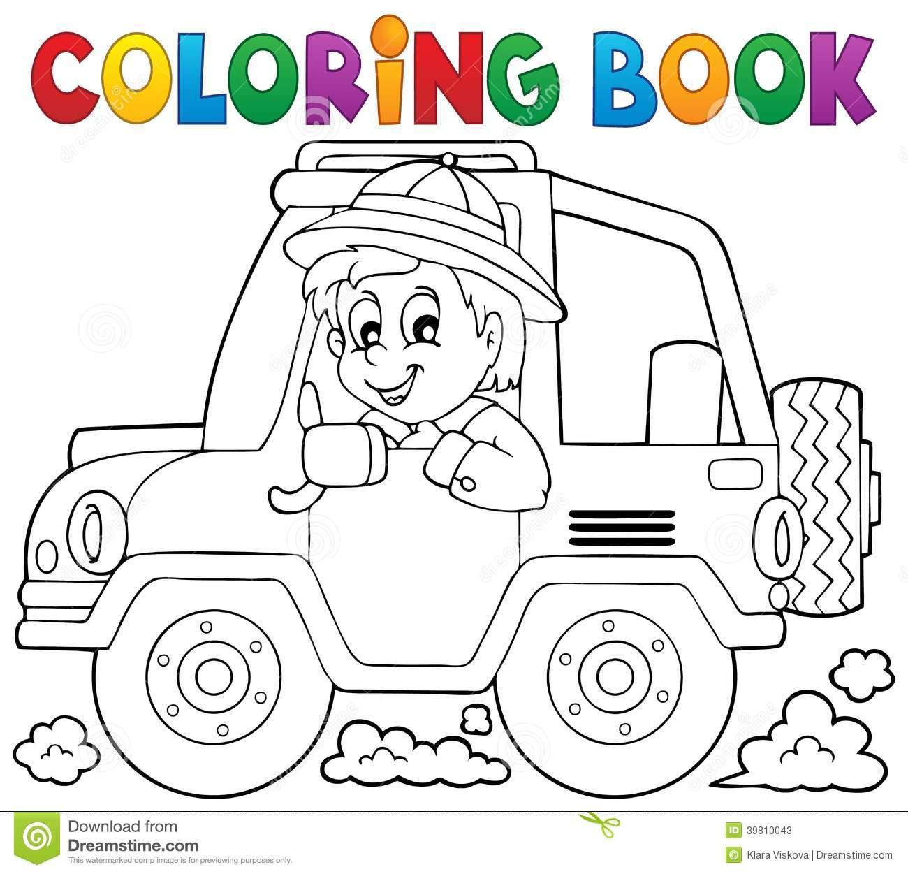 Tema 2 Do Viajante Do Carro De Livro Para Colorir Ilustração Do
