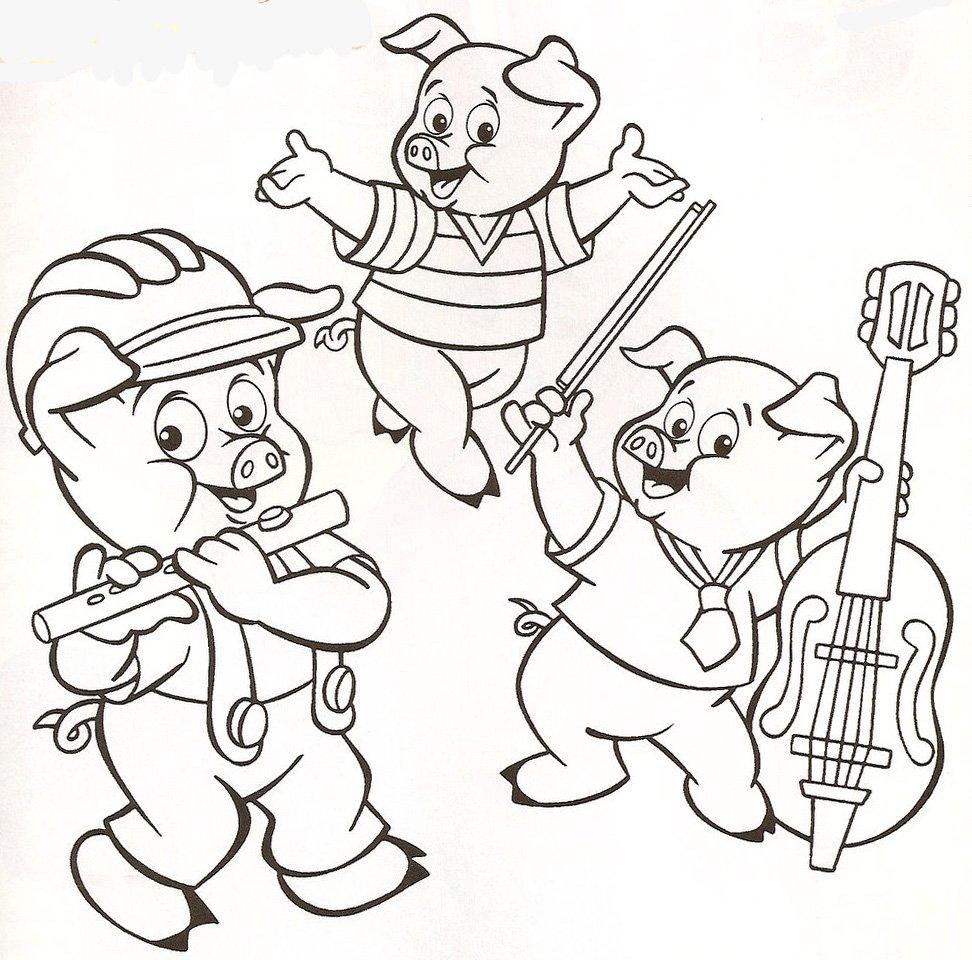 3 Porquinhos Tocando – Desenhos Para Colorir