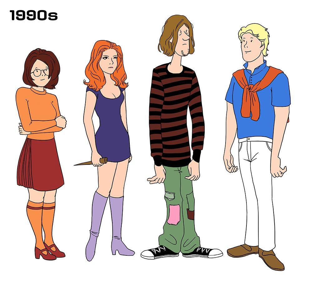 90 Anos De Moda Representados Por Personagens De Scooby Doo