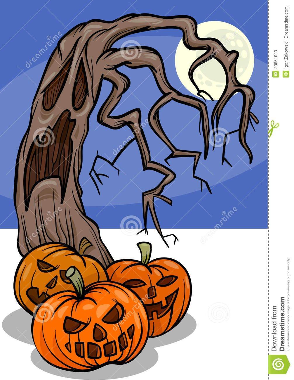 Abóboras De Dia Das Bruxas Com Desenhos Animados Da árvore Fotos