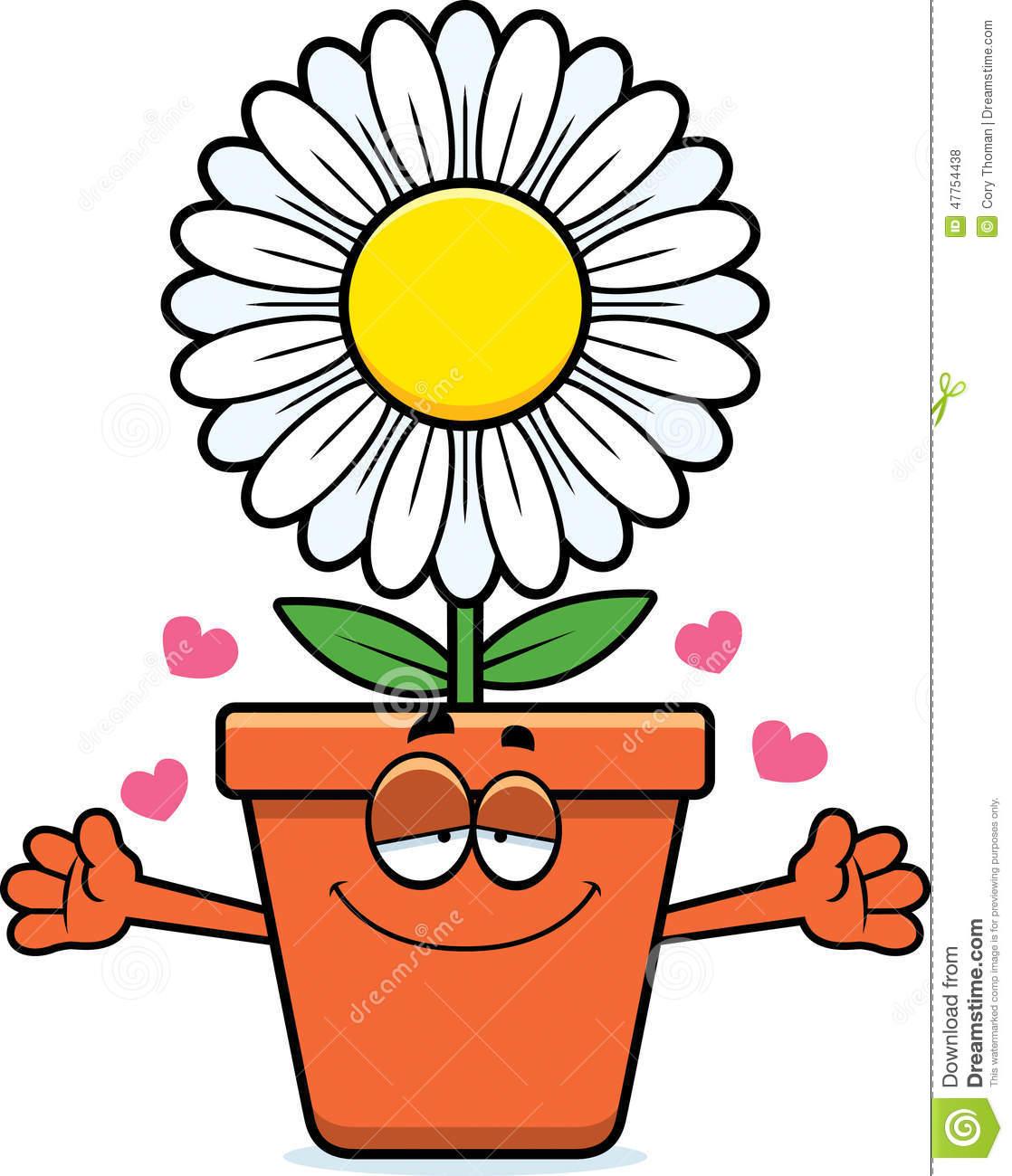 Abraço Do Vaso De Flores Dos Desenhos Animados Ilustração Do Vetor
