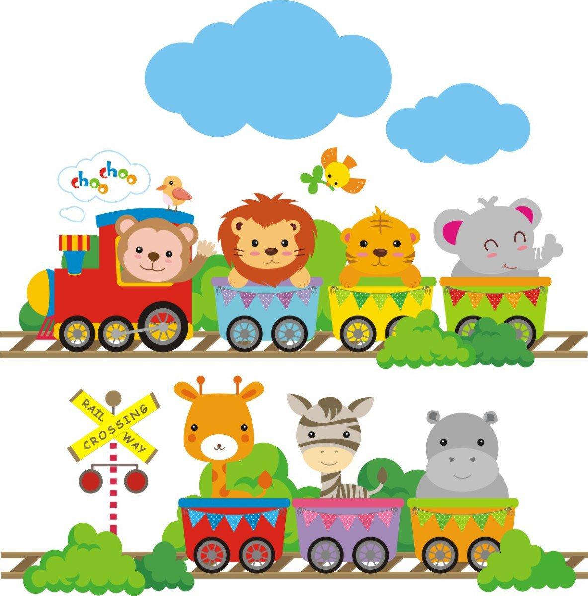 Adesivo De Parede Infantil Zoo Trem Maior Do Ml