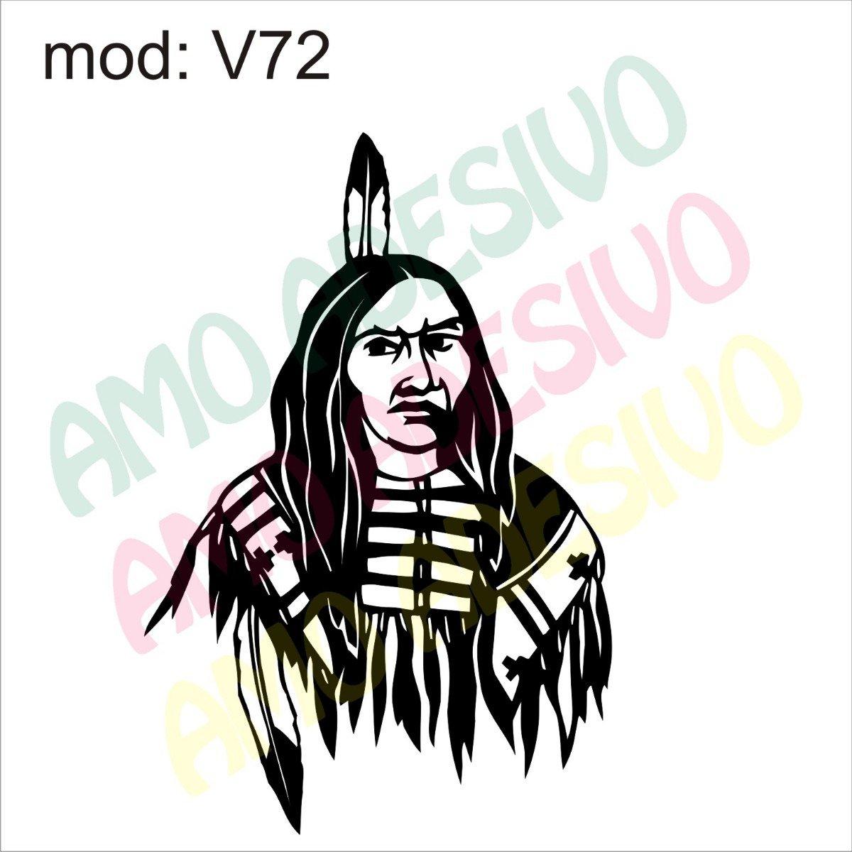 Adesivo V72 Desenho Abstrato Indio Pena Na Cabeça Decorativo