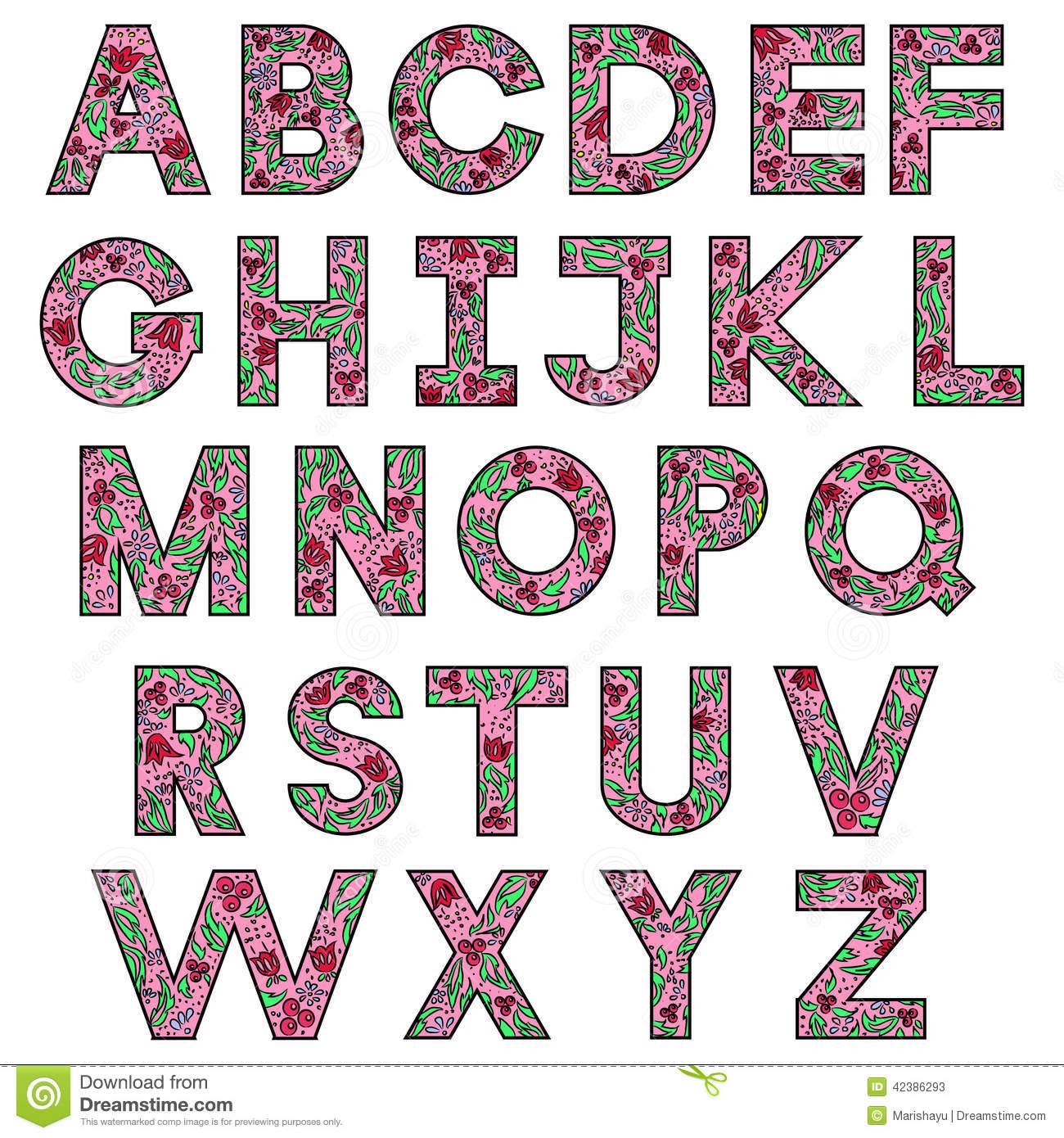 Alfabeto Do Desenho Da Mão Ilustração Do Vetor