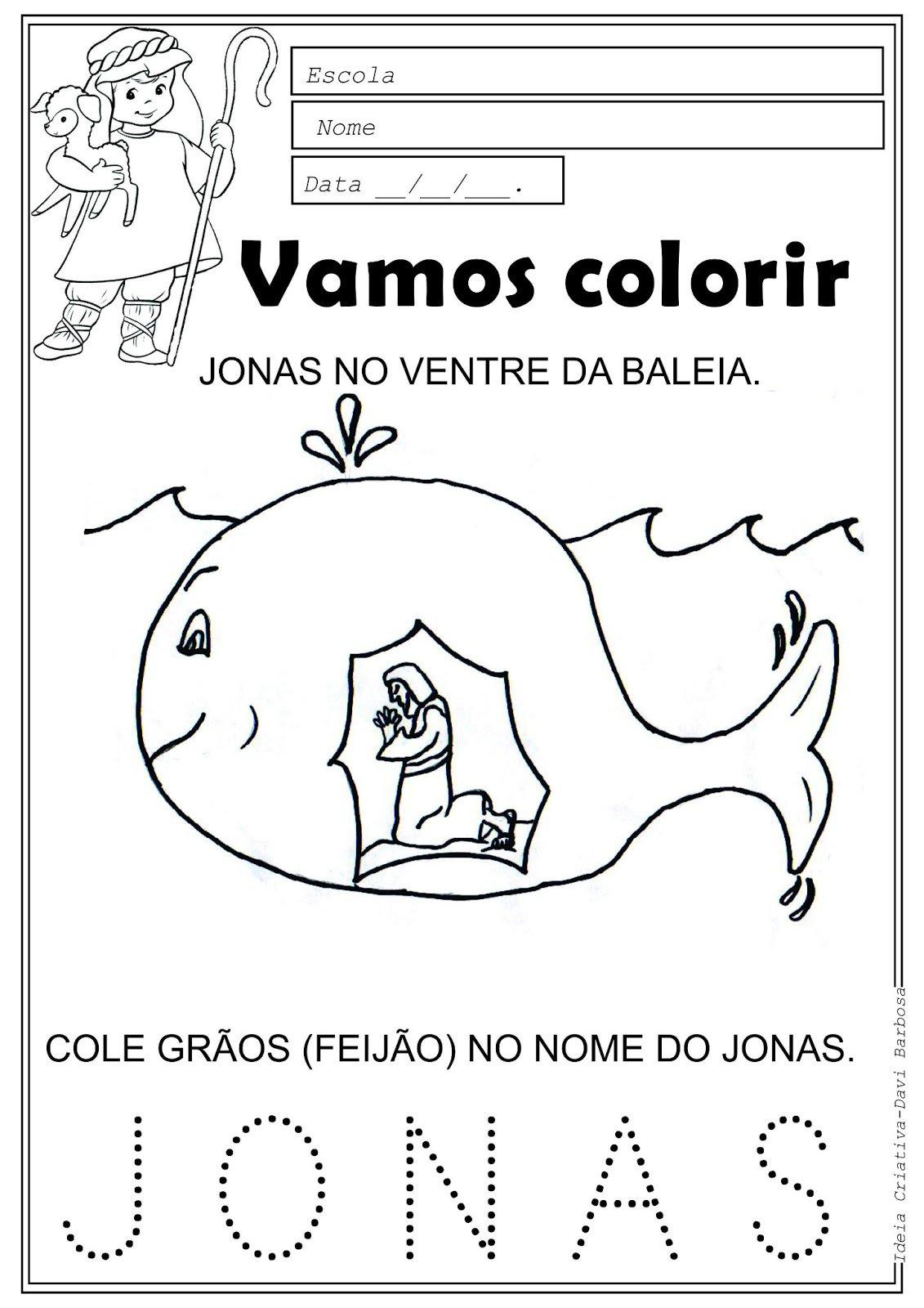 Amiguinhos De Jesus  Desenho De Jonas No Ventre Da Baleia Para Colorir