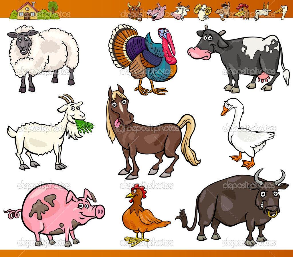 Animais Da Fazenda Definir Ilustração Dos Desenhos Animados