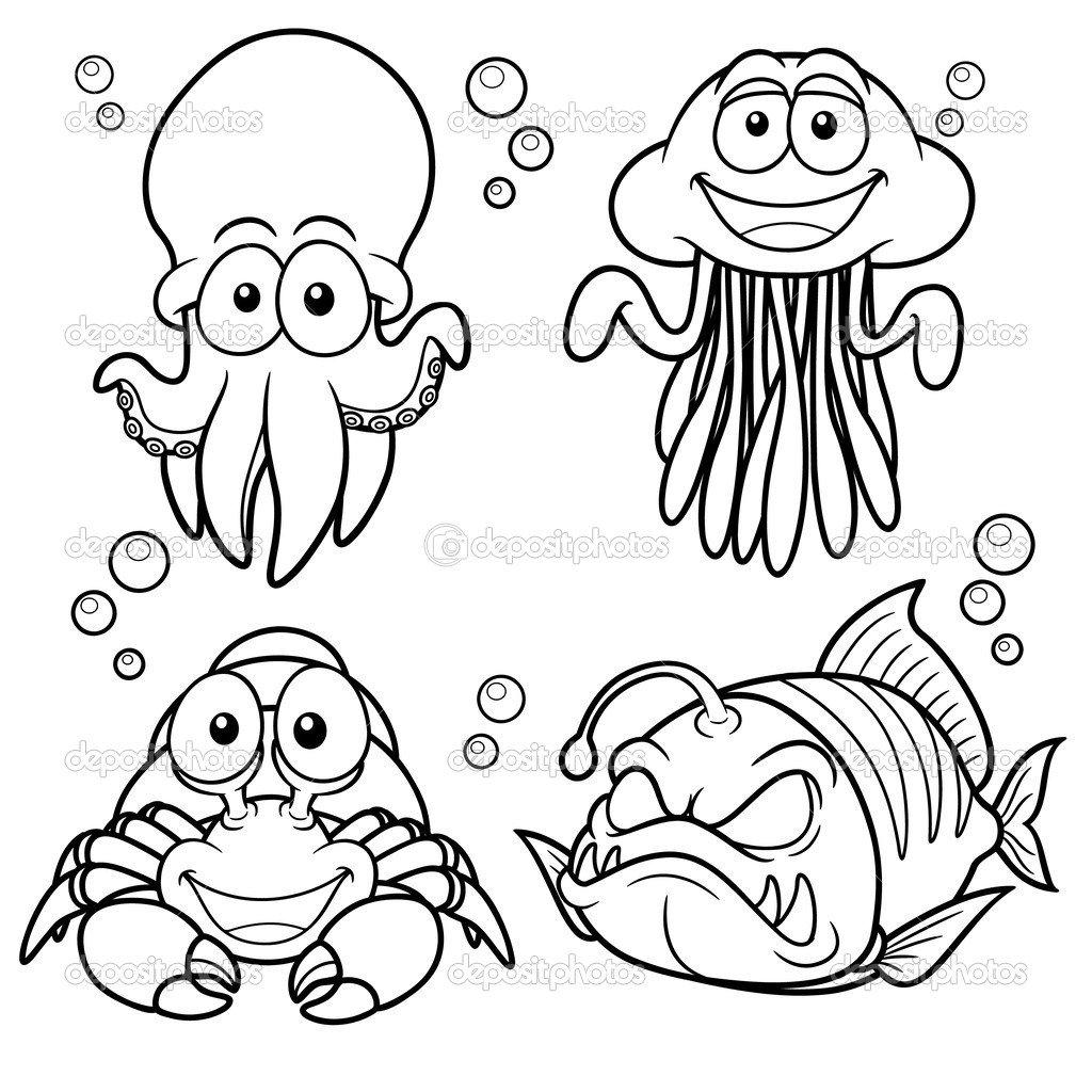 Animais Marinhos Dos Desenhos Animados — Vetores De Stock