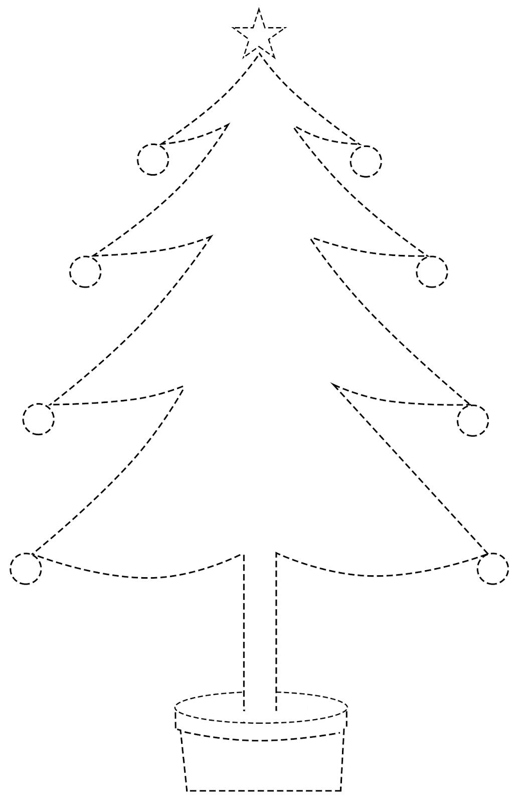 Arvore De Natal Pontilhada Para Colorir