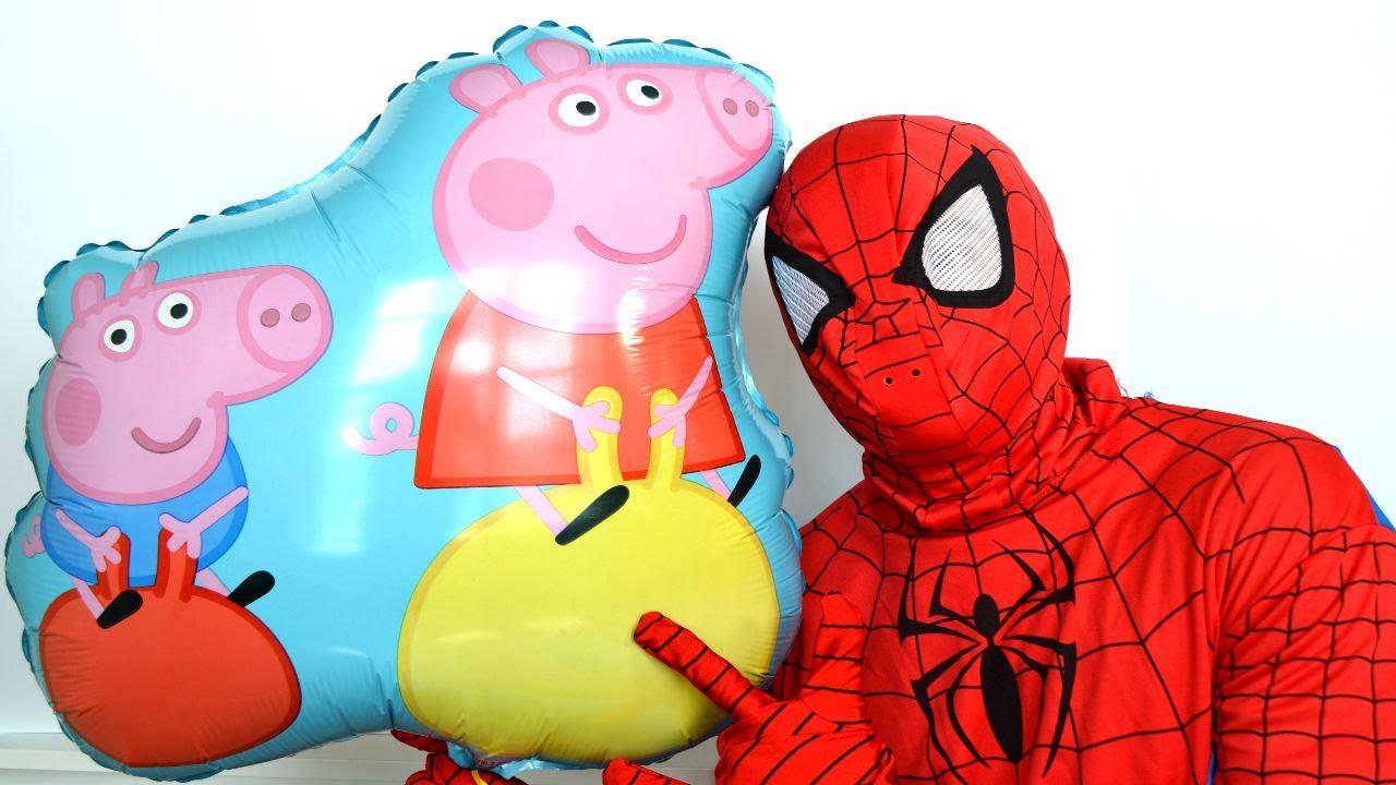Balao Surpresa Do Pig George E Da Peppa Pig!! O Que O Homem Aranha
