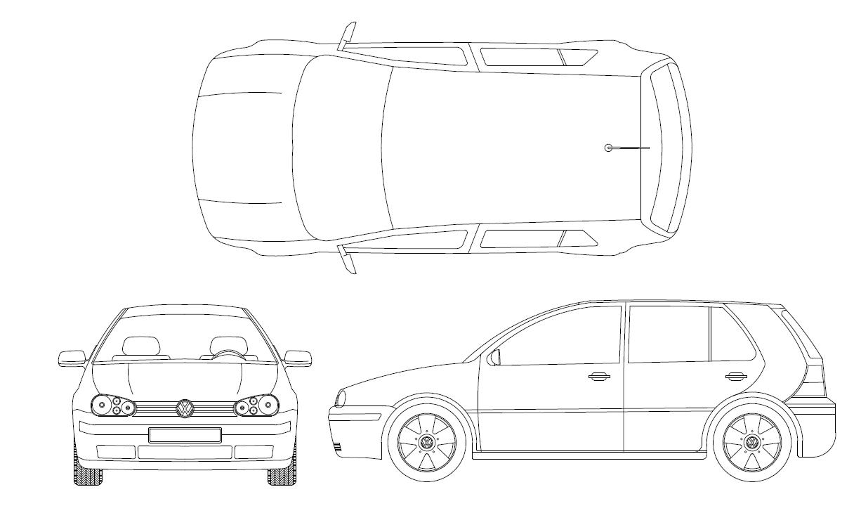 Bloco Dwg Para Autocad Com Carro Golf