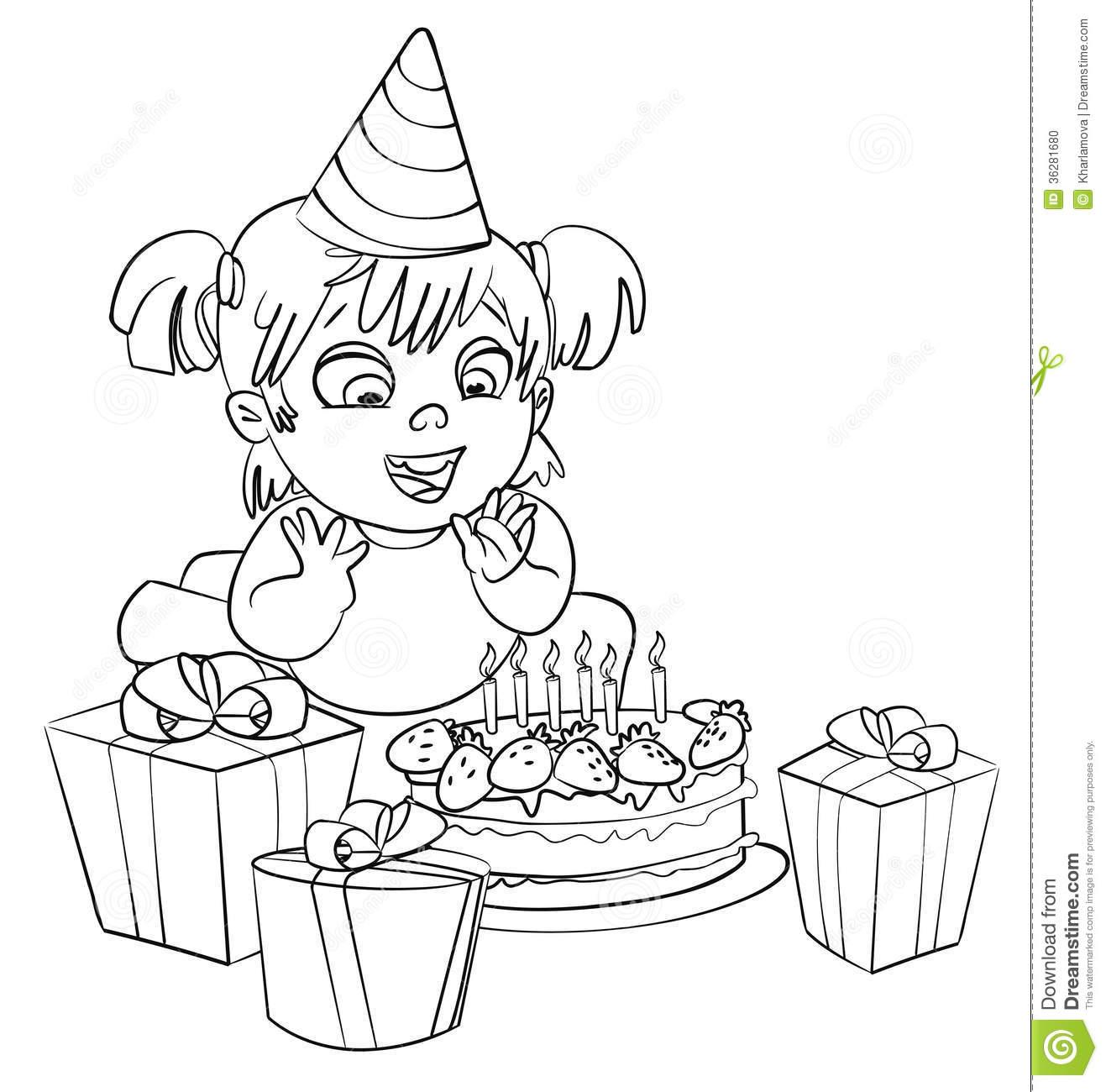 Bolo De Aniversário Do Livro Para Colorir Ilustração Do Vetor