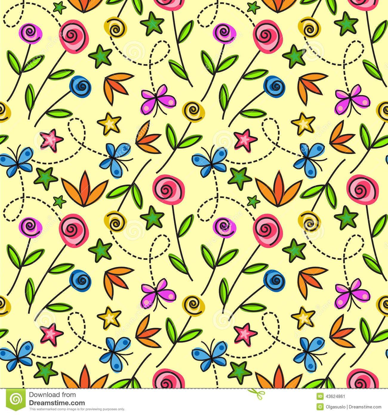 Borboletas Dos Desenhos Animados Com Flores Foto De Stock Royalty