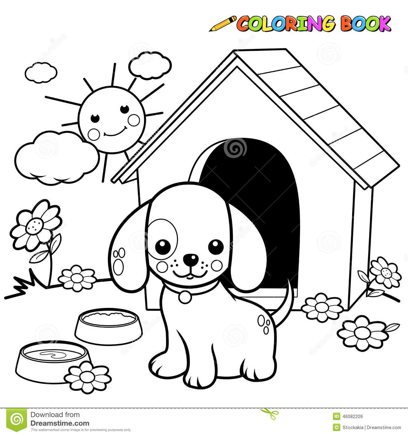 Cão Do Livro Para Colorir Fora Da Casa De Cachorro Ilustração Do