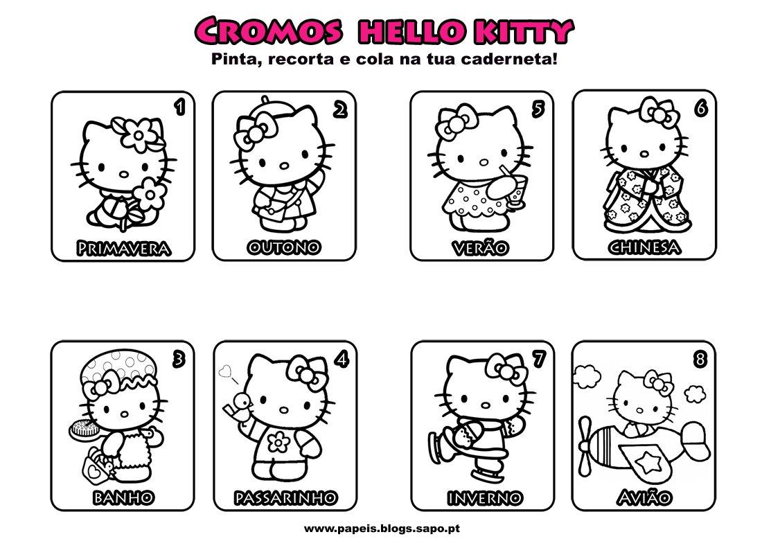 Caderneta De Cromos Da Hello Kitty Para Colorir, Recortar E Colar