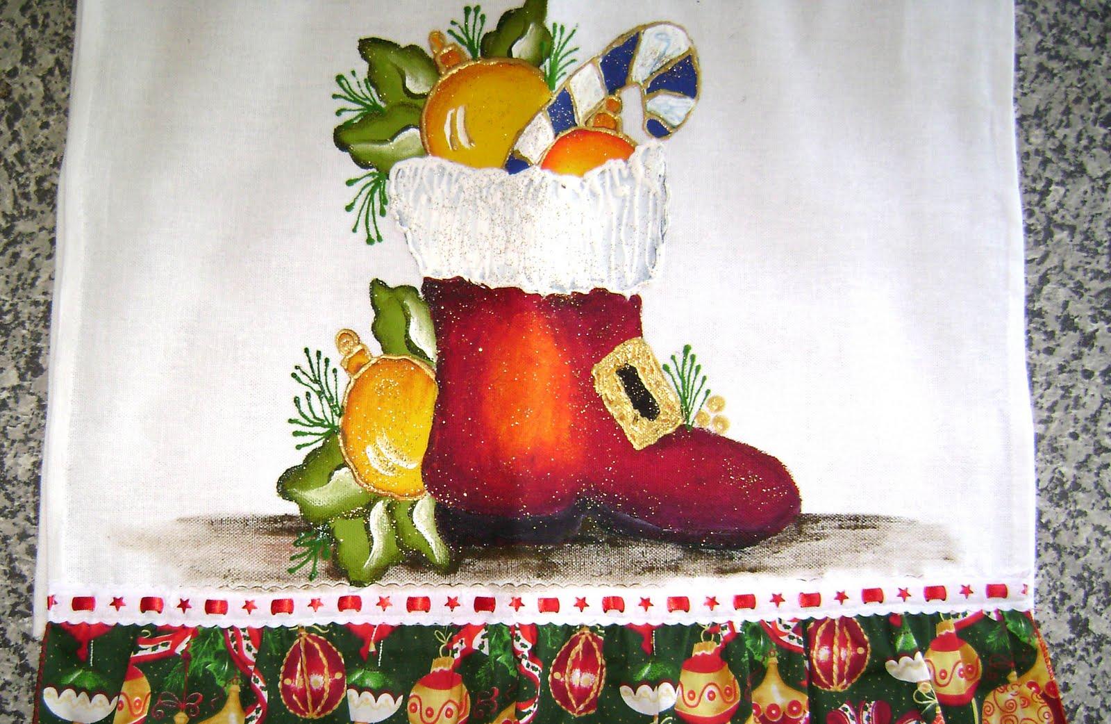 Cantinho Da Pintura Em Tecido  Botas Do Papai Noel E Sinos Natalinos