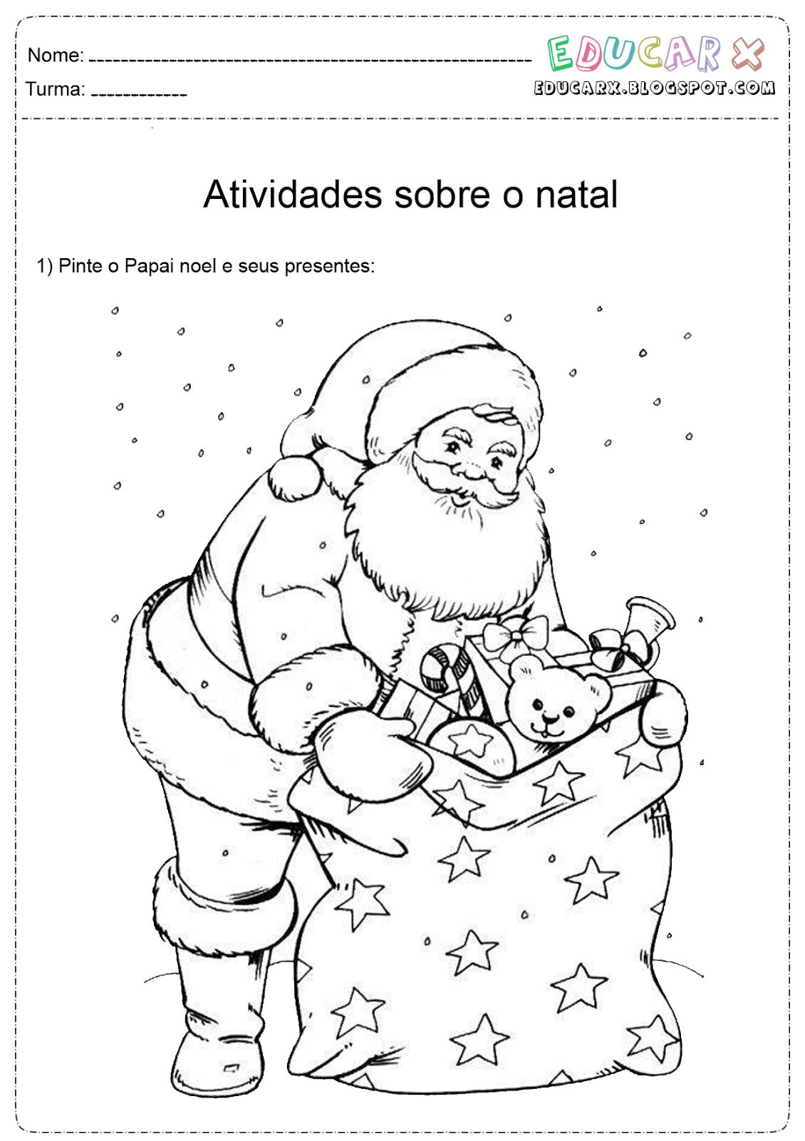Cantinho Da Professora Mary  Papai Noel Para Colorir, Pintar E