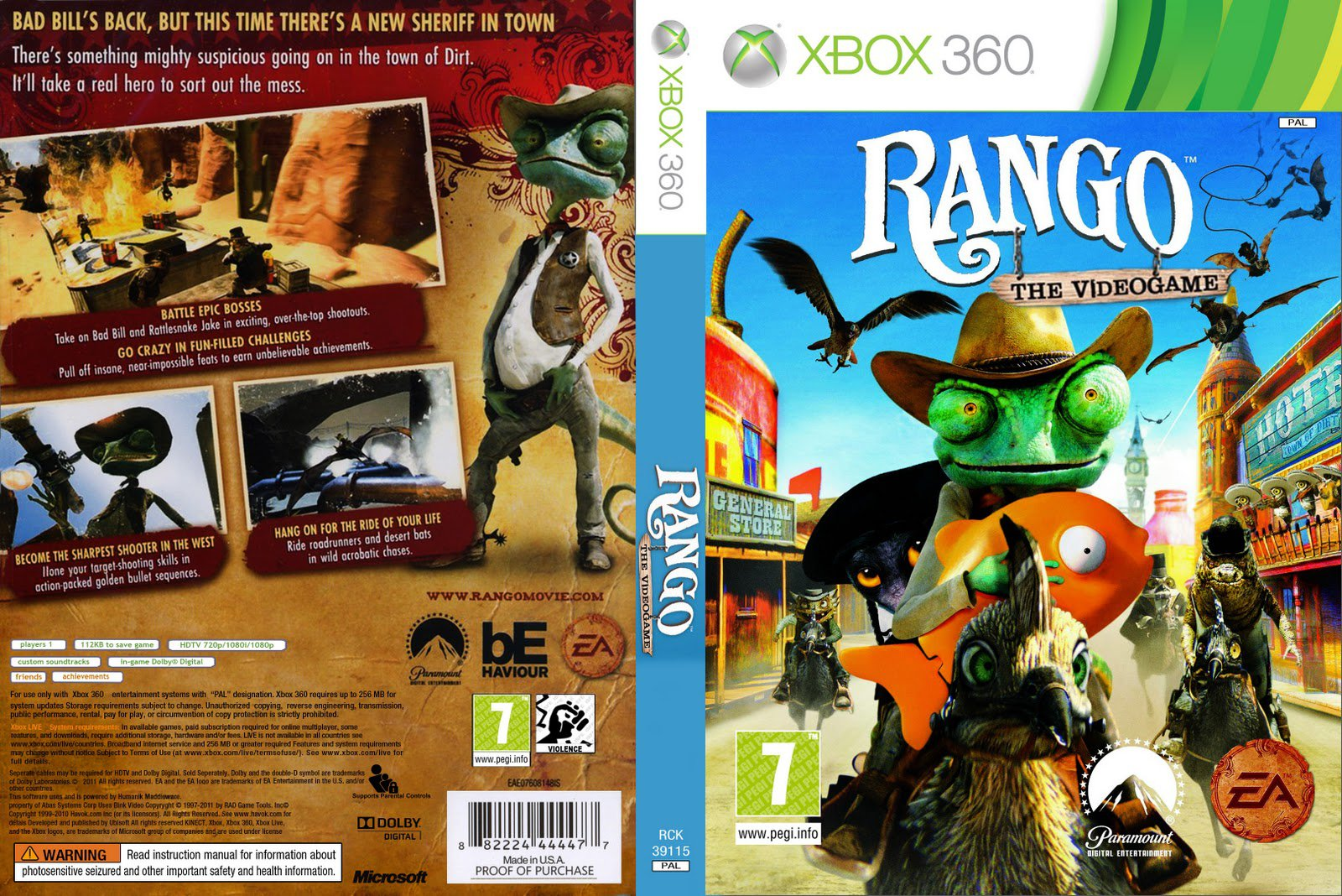 Capa Rango  The Video Game Xbox 360 ~ Gamecover