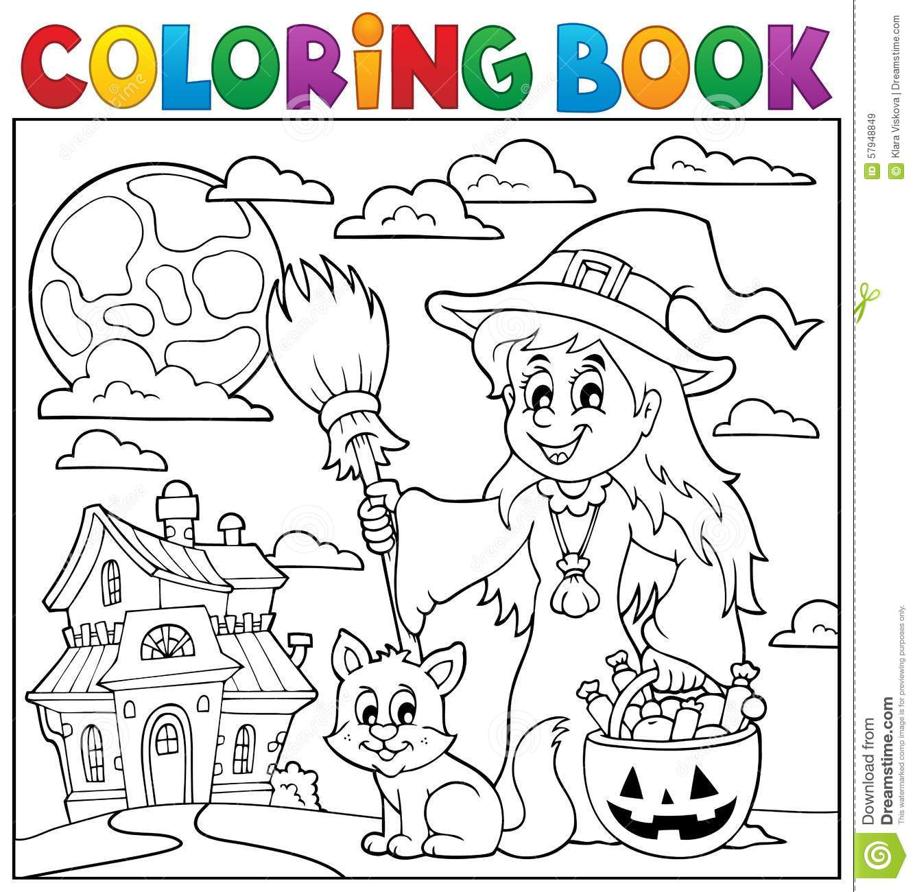 Caráter 5 De Dia Das Bruxas Do Livro Para Colorir Imagem De Stock