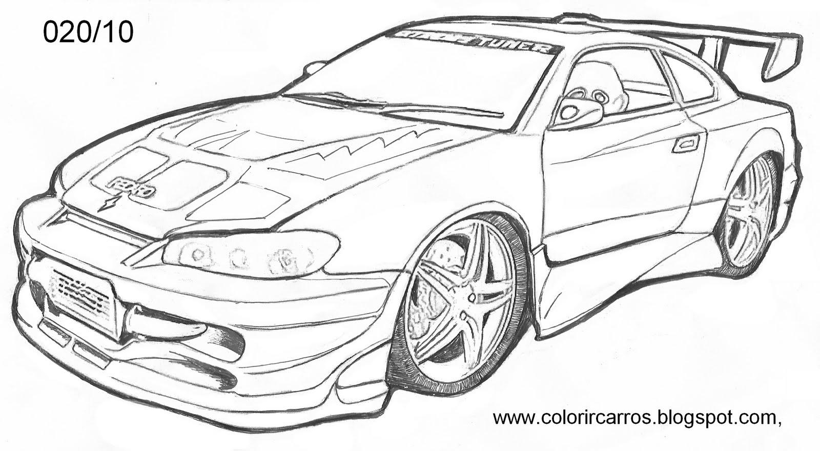 Carro Tunado Para Colorir