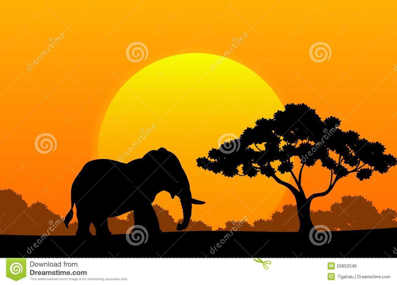 Cartoon Animal Elephant In The Africa Stock Vector