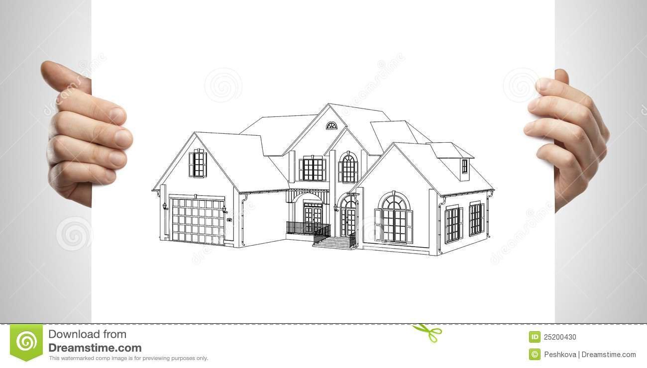 Casa De Campo Do Desenho Disponivel Foto De Stock
