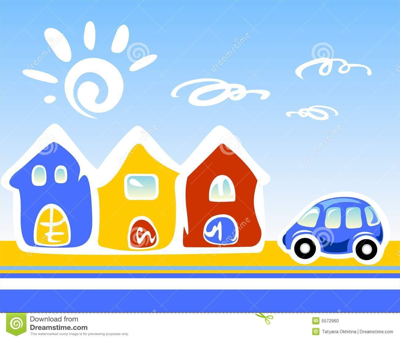 Casas Dos Desenhos Animados Foto De Stock