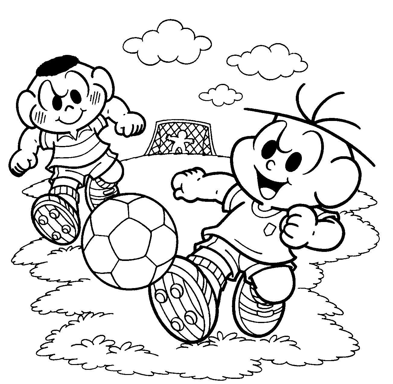 Cascão E Cebolinha Jogando Bola – Desenhos Para Colorir