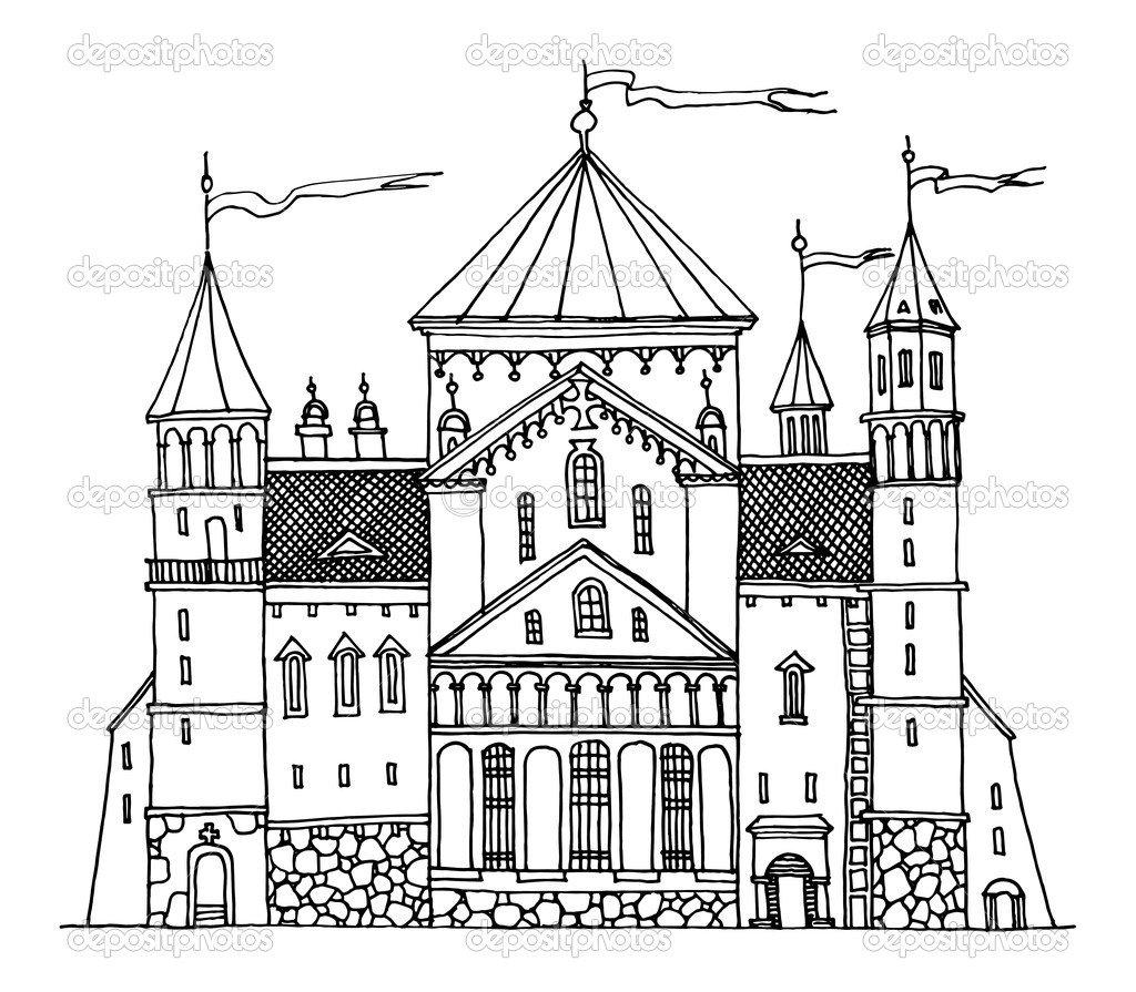 Castelo De Desenho De Mão — Vetor De Stock © _fla  18474919