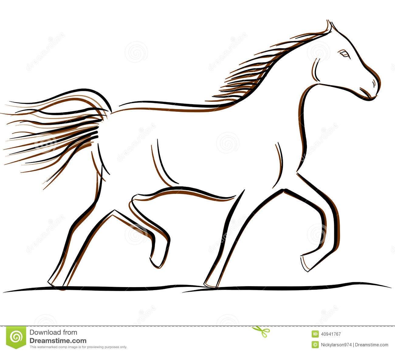 Cavalo Desenho Do Vetor De B & De W Ilustração Do Vetor