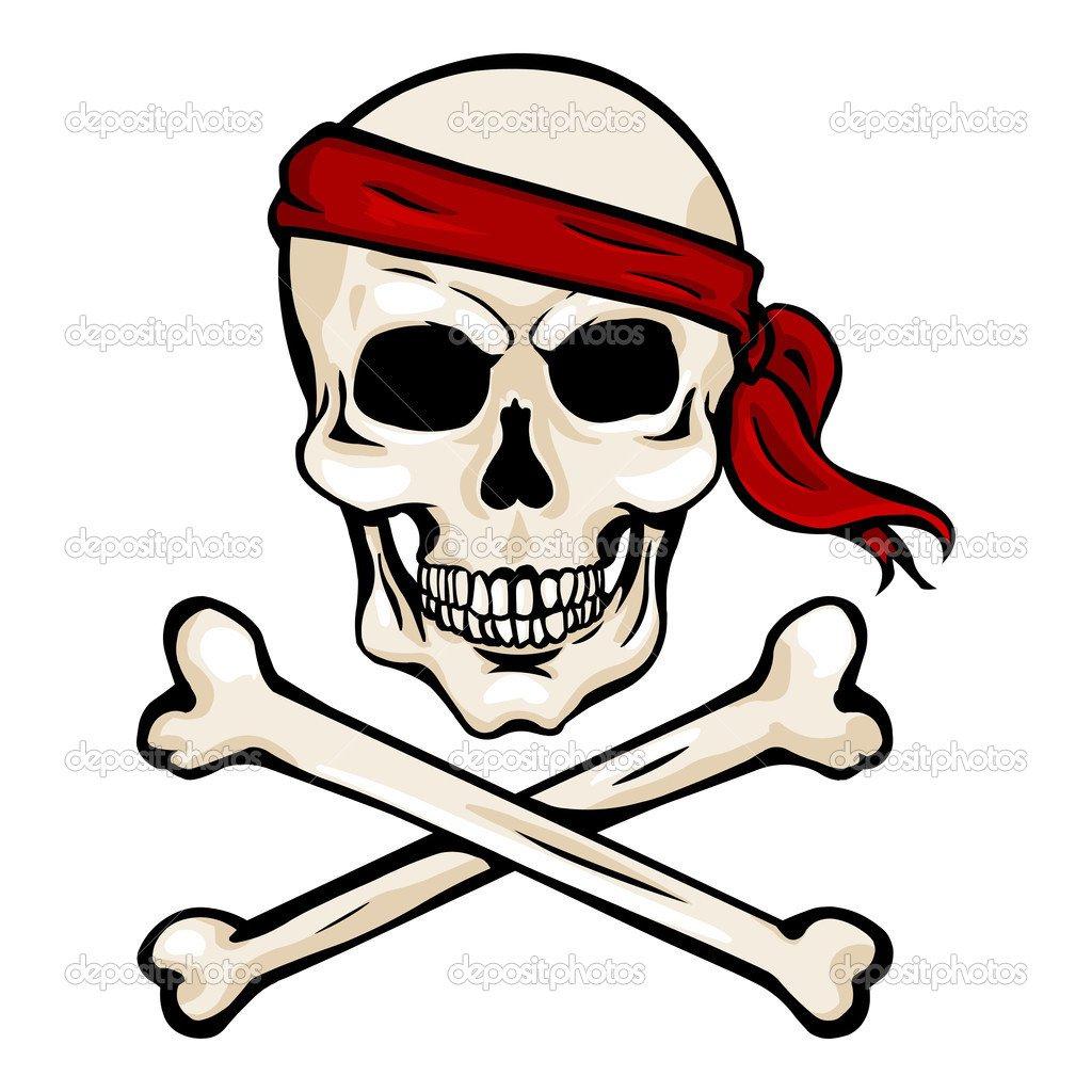 Caveira Pirata Com Fita Vermelha Com Cruz Ossos Na — Vetor De